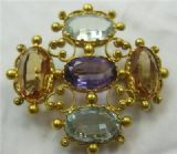 Georgian 18ct cannetille work Aquamarine Topaz Amethyst quality brooch stomacher